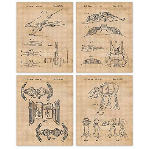 Vintage Star Vessels Patent Poster Prints, Set of 4 Photos (8x10) Unframed, Great Wall Art Decor Gifts Under 20 for Home, Office, Studio, Garage, Man Cave, Student, Comic-Con, Wars & Movies Fan
