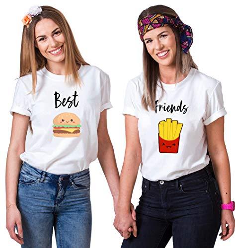Best Friends T-Shirts für 2 Mädchen BFF T-Shirts Freundschafts T-Shirt Sister T-Shirts Beste Freunde T-Shirt Best Friends Geschenk BFF Geschenke Sommer Oberteil Kurzarm Baumwolle Schwarz Weiß