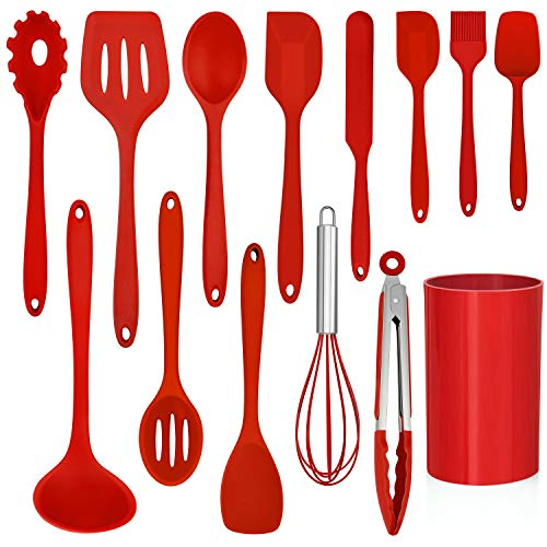LIANYU 14 Pcs Cooking Utensils Set with Holder, Heat Resistant Silicone Kitchen Cookware Utensils Set, Kitchen Cooking Tools Includes Spatula Spoon Turner Whisk Tong, Dishwasher safe, Red