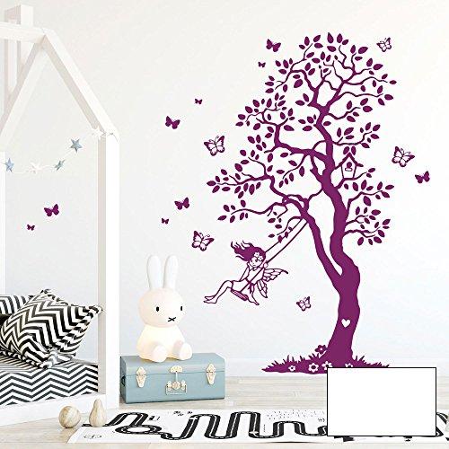 Wandtattoo Baum Elfe Fee Schaukel Schmetterlinge Kinderzimmer M2335 - ausgewählte Farbe: *weiß* ausgewählte Größe: *S - 100cm hoch x 65cm breit + Schmetterlinge*