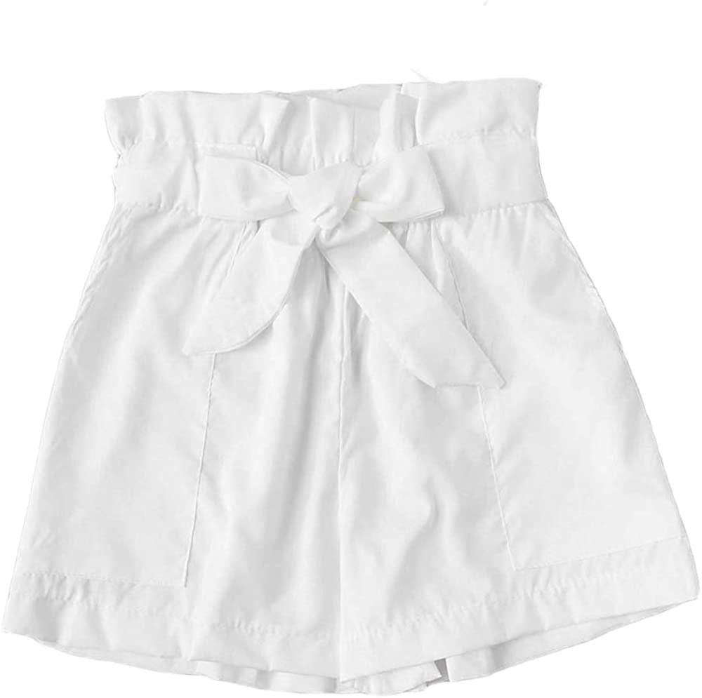 Shorts for Women GREFER Max 78% Mail order OFF Summer Loose Solid Beach Bow Belt