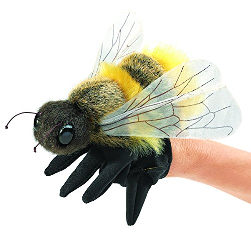 Folkmanis Honey Bee Hand Puppet, Yellow, Black (3028)