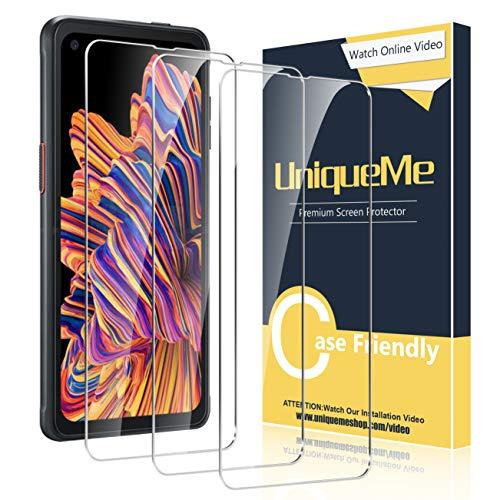 UniqueMe [3 Stück] Schutzfolie für Samsung Galaxy Xcover Pro Panzerglas, HD klar gehärtetes Glas Displayschutz 9H Härte Anti-Fingerabdruck