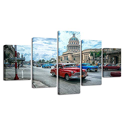 Bilder Dekorative malerei Spray malerei leinwand malerei 5 stück Kuba Auto Leinwand Wandbild, Möbel Art Deco, Rahmen