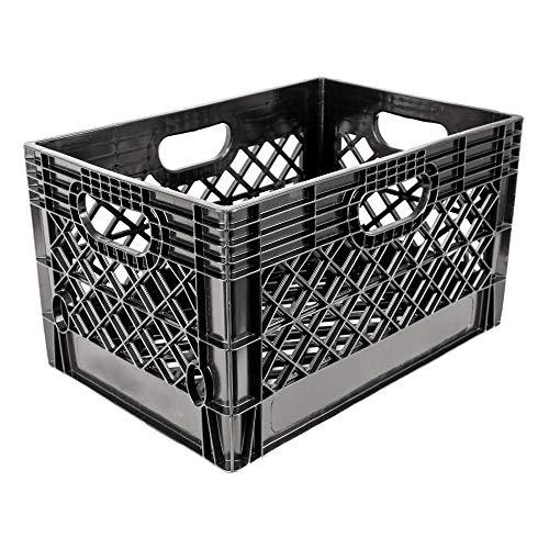 Jezero MC-24 Mutli-Purpose Milk Crate, Black, Rectangle, 13' x 11' x 19'