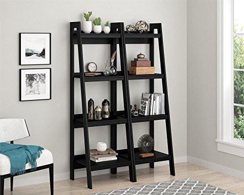 Ameriwood Home Hayes 4 Shelf Ladder Bookcase Bundle (Black)