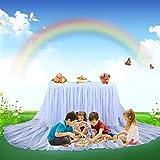 HBBMAGIC Tutu Tischrock Weiß Tüll Tischdeko Party deko Für Babyparty mädchen, Hochzeit, Geburtstag, Weihnachten, Candy bar zubehör (Weiß- Nein LED Licht, 427cm*76cm) - 5