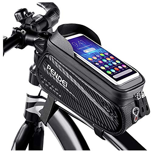 PENDEI Fahrrad Rahmentasche, Wasserdicht Rahmentasche Fahrrad Handyhalterung Lenkertasche zur Navigation Fahrradzubehör mit TPU Touchscreen Sonnenblende für Smartphone unter 6,5 Zoll