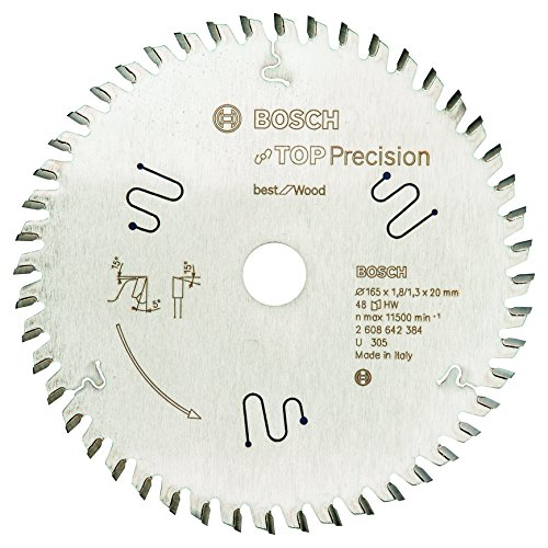 Bosch Professional Disco de sierra circular Top Precision Best for Wood (para madera, 165 x 20 x 1,8 mm, 48 dientes, accesorio de sierra circular)