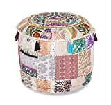 Aakriti Indian Pouf Footstool with Embroidery Pouf, Indian Cotton, Pouf, Ottoman Pouf Cover with Ethnic Decor Art - Cover (White, 56x35 cms)