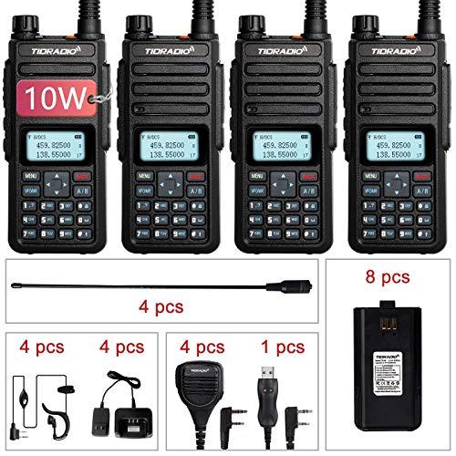 TIDRADIO TD-H6 High Power Ham Radio Handheld Upgraded UV-5R Two Way Radios with 8pcs 2200mAh Batteries Includes Full Kit Walkie Talkie (4 Pack)