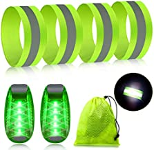 Reflective Running Gear Set Include 2 Pieces LED Safety Lights and 4 Reflective Bands for Wrist Arm Ankle Leg Reflective Straps Tape High Visibility Reflector Bands Strobe Running Light for Woman Men