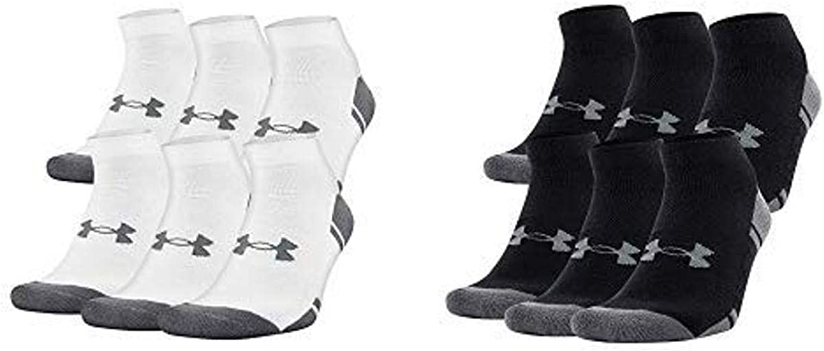 Under Armour Adult Resistor 3.0 Low Cut Socks, 6-Pairs, White/Graphite, Shoe Size: Mens 12-16 & Under Armour Adult Resistor 3.0 Low Cut Socks, 6-Pairs, Black/Graphite, X-Large