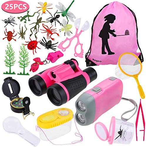 Anpro 25pcs Kids Outdoor Explorer Kit, Children Adventure Toys Gift for Girls Including Kids Telescope, Compass, Flashlight, Suitable for Over 6 Years Old