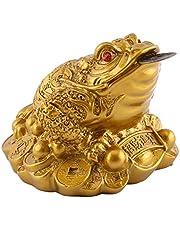 Liyeehao Żaba pieniężna, żaba Feng Shui, żaba szczęścia, złota dekoracja do biura dla domu (imitacja naśladowania)