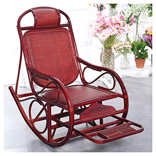ZCL Folding Chairs for Outide Lightweight Rattan Outdoor Sun Rocking Chair ,Sunbed Sunlounger Loungers Recliner Sling Chair Garden Chair. Folding Chair Covers (Color : Red)