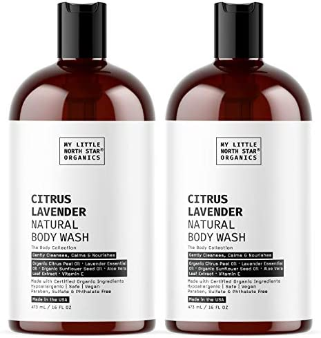 Natural Body Wash Organic Citrus Lavender Made in USA 2X16oz Plant Based Shower Gel for Men product image