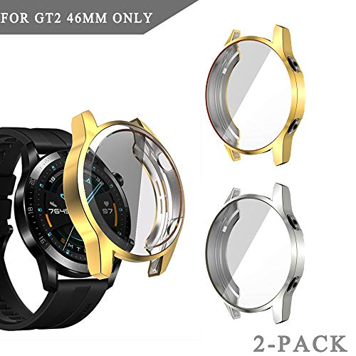 Case Compatible with Huawei GT 2 46mm Smartwatch Full Cover Case Screen Protector, Soft Plated TPU Scratch Resistant Slim All-Around Protective Case (Gold+Silver, 46mm)