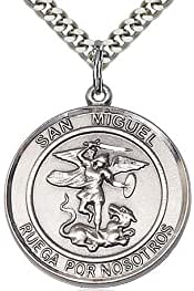 DiamondJewelryNY Sterling Silver San Miguel Arcangel Pendant