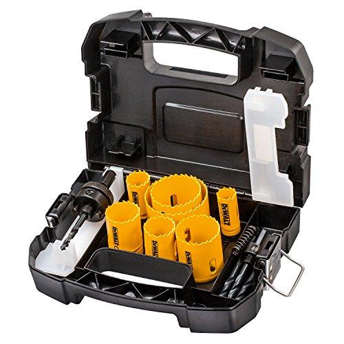 Dewalt DT83003-QZ DT83003-QZ-Juego de 11 Bi-metal para electricista. Coronas 16, 20, 25, 32, 40, 51, 64mm + 2 mandriles y 2 brocas piloto, Set de 6 Piezas
