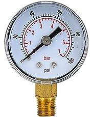 Manómetro mecánico, manómetro BSPT de 1/8 de pulgada para aire, aceite y agua(0-100psi,0-7bar)