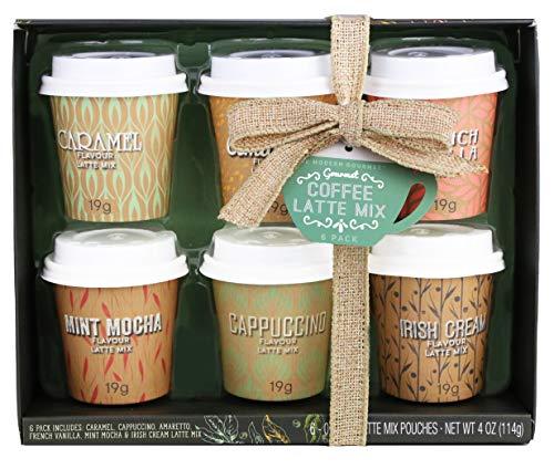 Modern Gourmet Foods, Set Regalo Mini caffè, 19 grammi ciascuno, Include Gusti Caramello, Cappuccino, Amaretto, Vaniglia francese, Mocha menta e Crema Irlandese, set di 6