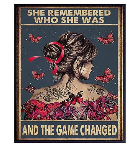 She Remembered Who She Was And The Game Changed - Uplifting Encouragement Gifts for Women - Inspirational Positive Quotes Wall Decor - Motivational Wall Art - Boho Decoration Poster - Girls, Teens