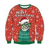 RAISEVERN Netter Weihnachtsmann Katze Weihnachtsstrickjacke Langarm-Sweatshirt Pullover Pullover für Familiengeschwister Paare Weihnachten