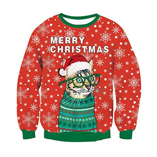 RAISEVERN Herren Frohe Weihnachten Pullover Langarm Top Pullover Sweatshirt hässliche lustige Worte mit Santa Cat Prints Xmas Jumper, rot