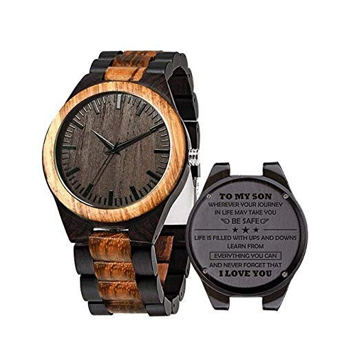 STEDMNY Orologio in Legno Custom Ebony Men Watch To Husband Personal Engrave Wood Wristwatch Best Gifts for Husband Love Dad Mom Son Friend, To Son