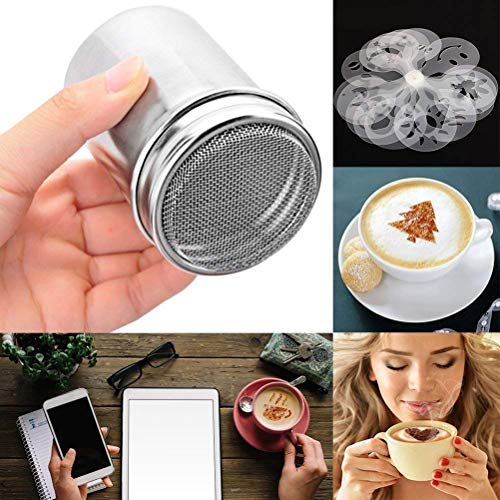 IYSHOUGONG 3 Pack Stainless Steel Powder Shaker Cocoa Cinnamon Mesh Sifter with 24 Pcs Different Coffee Printing Stencil Template DIY Spray Tool