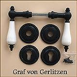 Graf von Gerlitzen Antik Eisen Tür Griffe Türgriffe Rosetten PZ Türbeschlag Klinke R12E-PZ