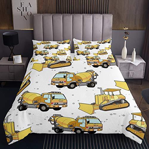 Machinery Cars - Juego de colcha para niños y niños, diseño de lunares, color amarillo