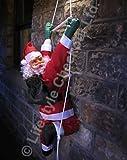 Babbo Natale da balcone con scaletta in corda - 90 cm