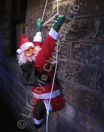 Sol90 - Scaletta in corda da arrampicata con Babbo Natale, 90 cm, decorazione da giardino