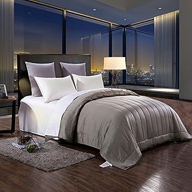 HONEYMOON HOME FASHIONS Matte Satin 88  x 90  Hypoallergenic Down Alternative Comforter, Queen, Light Gray