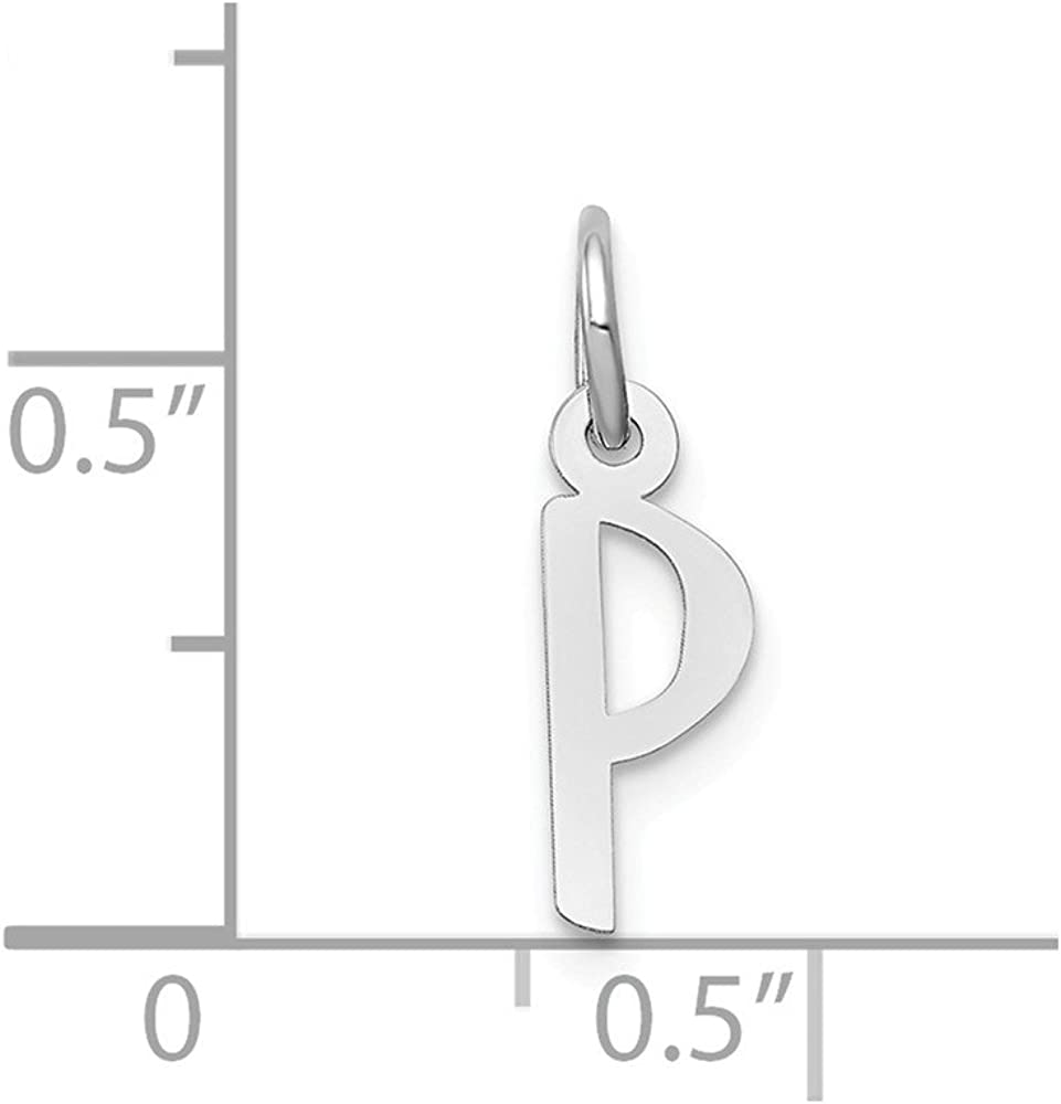 Width 5 to 6 Affluent Rock 14k White Gold Small Slanted Block Initial E Char Pendant