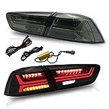 VLAND Ensemble de feux arrière à LED Compatible avec la lampe de feu arrière Mitsubishi Lancer EVO 2008-2017 avec Clignotant Lentilles de Tabagisme DRL Dynamiques Séquentielles Paires de thé Rouge