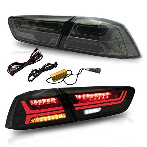 VLAND Tail lights Assembly for Mitsubishi Lancer EVO X 2008-2020,Taill Lamp Assembly with Sequential Turn Signal, Full LED, Plug-and-play,Smoked(Not fit for lancer fortis/lancer io)