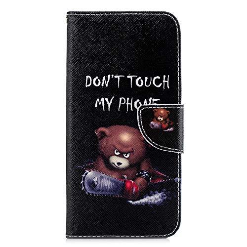 Funda para Samsung Galaxy A12, 3D pintado con absorción de golpes, piel sintética, funda tipo cartera con tapa magnética para Samsung Galaxy A12 con soporte para tarjetas, pequeño oso