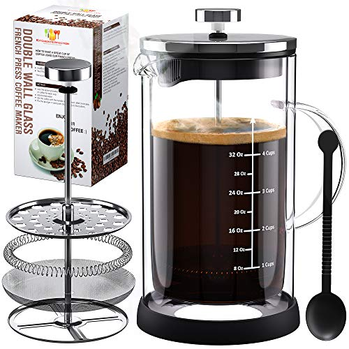 All Glass French Press Coffee & Tea Maker- Double Wall Thermal Insulated...