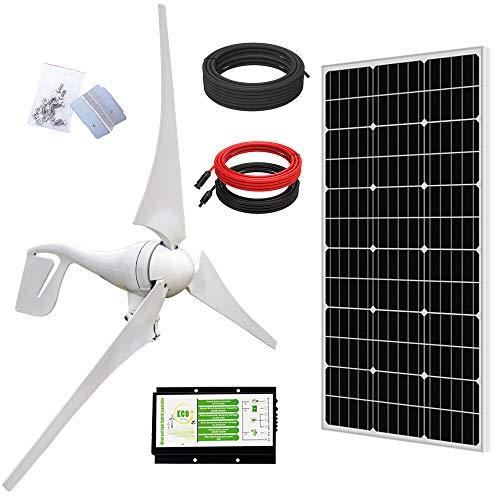 ECO-WORTHY 500W Solar Wind Power Kit: 1x 400W Wind Turbine Generator with Hybrid Controller + 1x 100W Mono Solar Panel for Home/RV/Boat/Farm/Street Light and Off-Grid Appliances