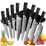 UniqueFire Juego de Cuchillos de Cocina Profesional - 8 Piezas Set Cuchillo Cocina de Cuchillo Chef - Juego Cuchillos Cocina Hecho de Acero Inoxidable Alemán, Cuchillos de Durable con Mango de Resina