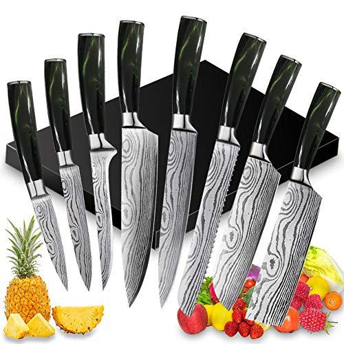 UniqueFire Juego de Cuchillos de Cocina Profesional - 8 Piezas Set Cuchillo...