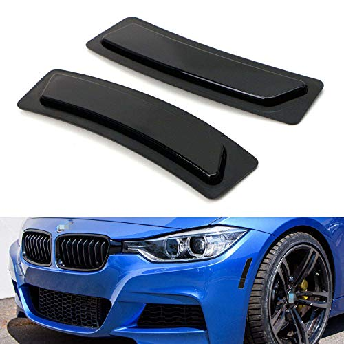 iJDMTOY Glossy Black Smoked Lens Front Bumper Side Markers Compatible With 2016-2018 BMW F30 F31 LCI 3 Series 320i 340i, F32 4 Series 420i 428i 435i 440i, Replace OEM Amber Reflector Assy
