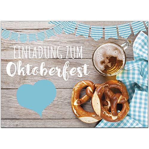 15 Einladungen zum Oktoberfest 2020 / Format DIN A6, 2-seitig/Rustikal bayrisch/Einladungs-Karten zum Oktober-Fest mit Umschlägen/Garten Party