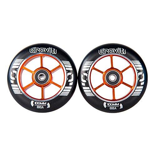 GRAVITI One Pair 100mm Pro Stunt Scooter Wheels with ABEC-9 Bearings CNC Metal Core (2pcs) (Orange)