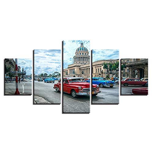 xiaolaji 5 Pannelli su Tela Quadro su Tela con Cornice Havana Cuba Car City Pictures HD Prints Landscape Modern Poster Home Decor-size2