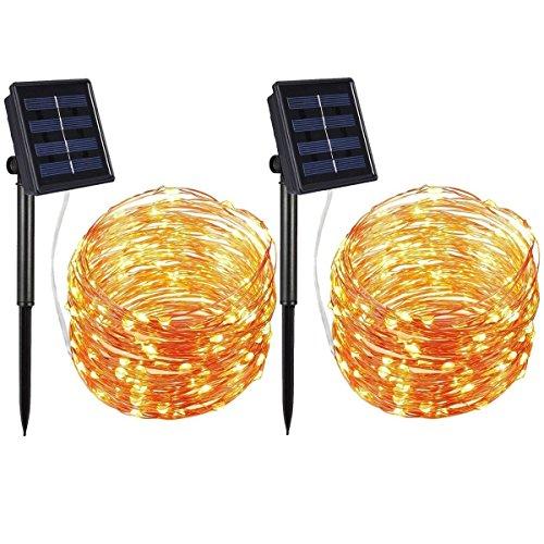 Solar guirnalda de luces, (2Pack) Starry luces de cadena, 7metros a prueba de agua 1,2V portátil con sensor de luz para Pascua, para jardín, casa, el baile, bodas, fiestas, interior