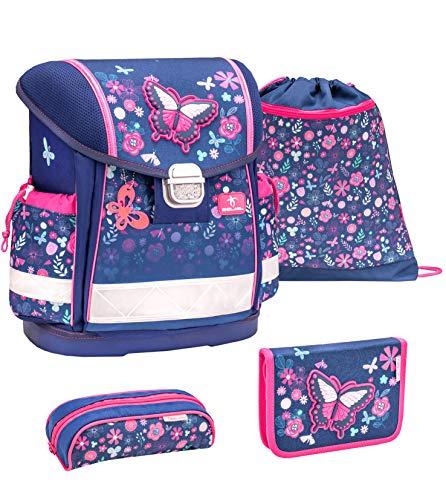 Belmil Schulranzen Set 4 - teilig ergonomischer Schulranzen Mädchen 1. klasse 2. klasse 3. klasse - Super Leicht 860-950 g / Grundschule/ Schmetterling, Butterfly / Blau Pink (403-13 Spring Time Blue)